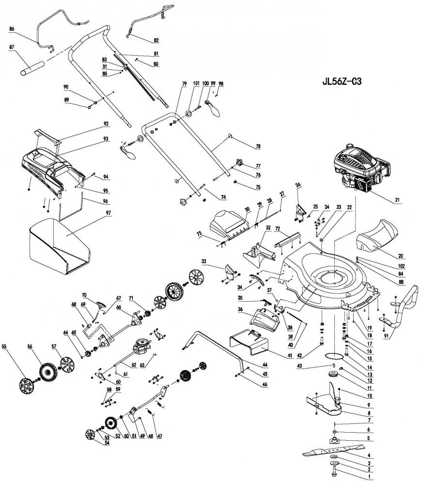 gardif LA Tech ID vue clat e tondeuse thermique gl to id tech 190sub 56 ac 4in1