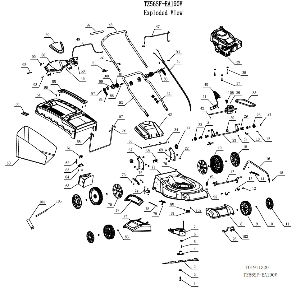 gardif So Tech illustrated parts list petrol mower 56 190sub idtech 4in1